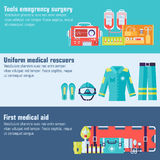 Medical rescue uniform and set first aid help. Equipment and instruments banners. On flat style background concept. Vector illustration for colorful template Royalty Free Stock Image