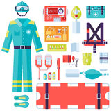Medical rescue uniform and set first aid help. Equipment and instruments. On flat style background concept. Vector illustration for colorful template for you Royalty Free Stock Photography