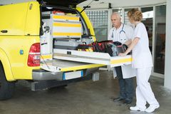The medical rescue vehicle. Medical stock photos