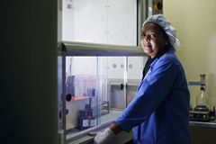 Medical research center, woman working in pharamaceutical lab royalty free stock image
