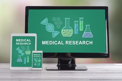 Medical research concept on different devices stock image