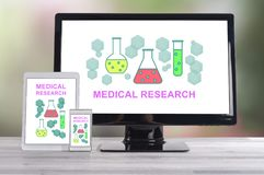 Medical research concept on different devices. Medical research concept shown on different information technology devices royalty free stock photo
