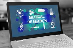 Medical research concept on a laptop. Laptop screen with medical research concept royalty free stock image