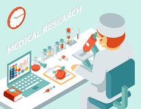 Medical research 3d isometric concept. Science chemical, medicine and pill, vector illustration Royalty Free Stock Photography