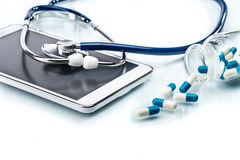 Medical Research,digital tablet and stethoscope Royalty Free Stock Photos