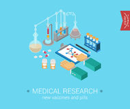 Medical research flat 3d isometric modern concept  icons Stock Photo