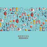 Medical research. Hand drawn health care and medicine icons. Stock Photography
