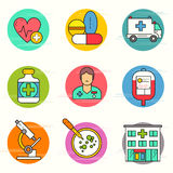 Medical and Research Icon Set Stock Image