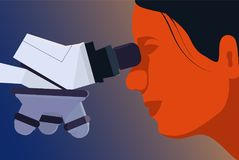Medical research illustration. Female scientist is looking into the microscope Stock Image