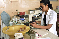 Medical research in Profamilia hospital Ocotal. Nicaragua, department of Nueva Segovia, Ocotal city: in the laboratory is a young woman, a lab medical Royalty Free Stock Images