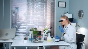 Medical research scientist in magnifying eyeglasses looking on sample stock footage