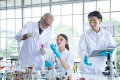 Medical Research and Scientists are working with a microscope and a tablet and Test Tubes, Micropipette and Analysis Results in a royalty free stock image