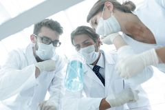 Medical researcher microbiology experiment in the laboratory. Scientists in the laboratory wearing protective goggles, looking at the flask royalty free stock image