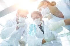 Medical researcher microbiology experiment in the laboratory. Scientists in the laboratory wearing protective goggles, looking at the flask Royalty Free Stock Photo
