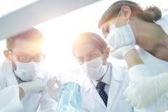 Medical researcher microbiology experiment in the laboratory. Scientists in the laboratory wearing protective goggles, looking at the flask royalty free stock photography