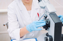 Medical researcher working with microscope in laboratory Royalty Free Stock Photos