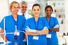Medical researchers lab. Cheerful medical researchers in lab royalty free stock photography