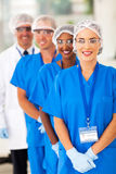 Medical researchers team. Smiling medical researchers team in lab stock photo