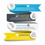 Medical ribbon infographic and line icon royalty free illustration