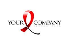 Medical Ribbon Logo. Anti cancer medical logo representing a red ribbon Stock Photo