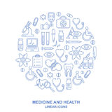 Medical round shape background with line style icons on white. Medicine and health design pattern with modern linear symbols. Medical background with line style Royalty Free Illustration