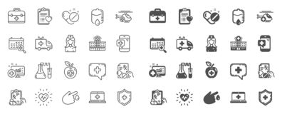 Medical line icons. Set of Hospital assistance, Health food diet and Laboratory tubes. Vector. Medical rx line icons. Hospital assistance, Ambulance, Health food royalty free illustration