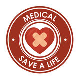 Medical save a life heart plaster design badge Royalty Free Stock Photography
