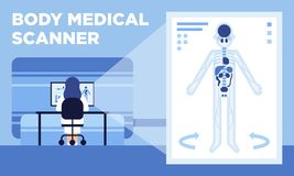 A medical scanner that makes 3D images of human body stock illustration