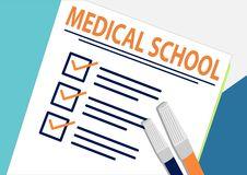 Medical School or planning icon concept. All tasks are completed. Paper sheets with check marks, abstract text and marker. vector illustration