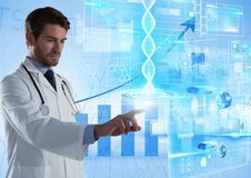 Medical science interface and Doctor touching air in front of bar charts. Digital composite of Medical science interface and Doctor touching air in front of bar Royalty Free Stock Photos