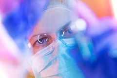 Medical science researcher performing test in laboratory royalty free stock photo