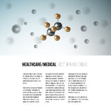 Medical scientific cell. Abstract graphic design of molecule structure, vector background for brochure, flyer or banner.  Royalty Free Stock Images