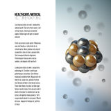 Medical scientific cell. Abstract graphic design of molecule structure, vector background for brochure, flyer or banner Royalty Free Stock Image