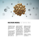 Medical scientific cell. Abstract graphic design of molecule structure, vector background for brochure, flyer or banner Royalty Free Stock Photo
