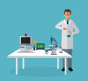 Medical scientist experiment laboratory elements on table Stock Image