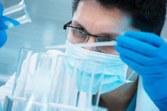 Medical scientist working in laboratory Stock Image