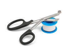 Medical scissors with plaster Royalty Free Stock Photo