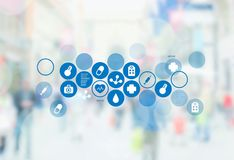 Medical icons on virtual screen on backgroound Royalty Free Stock Photos