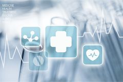 Medical icons on virtual screen on backgroound Stock Photos