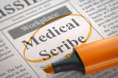 Medical Scribe Job Vacancy. 3D. A Newspaper Column in the Classifieds with the Vacancy of Medical Scribe, Circled with a Orange Highlighter. Blurred Image with Royalty Free Stock Photos