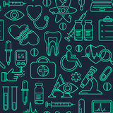 Medical seamless background with line style icons on black. Medicine and health design pattern with modern linear symbols. Royalty Free Stock Photo