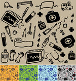 Medical seamless pattern. 5 color variations, vector illustration Stock Image