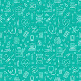 Medical seamless pattern blue color , clinic vector illustration. Hospital thin line icons - thermometer, check up. Diagnostic, microscope, stethoscope. Cute Stock Photography