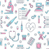 Medical seamless pattern , clinic vector illustration. Hospital thin line icons - thermometer, check up, diagnostic. Microscope, stethoscope. Cute repeated Stock Photography