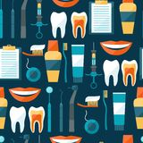 Medical seamless pattern with dental icons Stock Photo