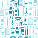 Medical seamless pattern with dental icons Royalty Free Stock Image