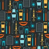 Medical seamless pattern with dental icons Royalty Free Stock Photos