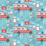 Medical seamless pattern. Seamless pattern with flat medical icons. vector illustration Stock Photos