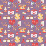 Medical seamless pattern flat style with healthcare objects. Medical seamless pattern in trendy flat style with various health care objects Royalty Free Stock Photography