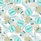 Medical seamless pattern with pills, flask and bacteria cells. Vector Illustration. Royalty Free Stock Photo